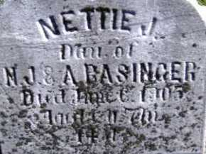 BASINGER, NETTIE J. - Allen County, Ohio   NETTIE J. BASINGER - Ohio Gravestone Photos