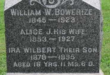 BOWERIZE, IRA WILBERT - Ashland County, Ohio | IRA WILBERT BOWERIZE - Ohio Gravestone Photos