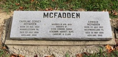 GERKEY MCFADDEN, CAROLINE - Ashland County, Ohio | CAROLINE GERKEY MCFADDEN - Ohio Gravestone Photos