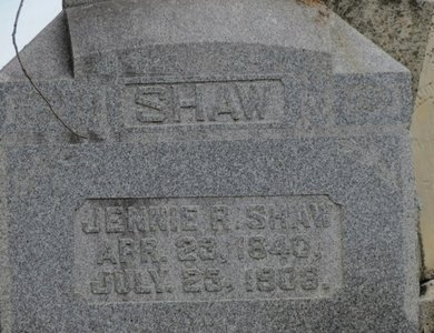 SHAW, JENNIE R. - Ashland County, Ohio | JENNIE R. SHAW - Ohio Gravestone Photos