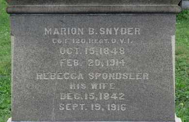 SNYDER, REBECCA - Ashland County, Ohio | REBECCA SNYDER - Ohio Gravestone Photos