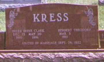 CLARK KRESS, HELEN - Brown County, Ohio | HELEN CLARK KRESS - Ohio Gravestone Photos