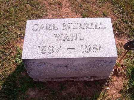 WAHL, CARL  MERRILL - Brown County, Ohio | CARL  MERRILL WAHL - Ohio Gravestone Photos