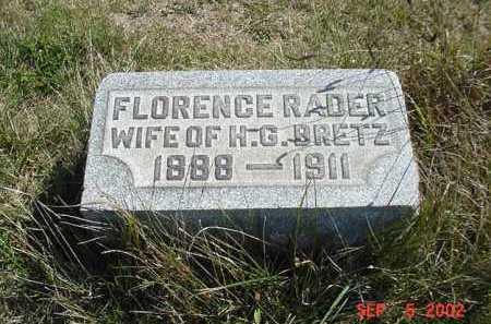 RADER BRETZ, FLORENCE - Carroll County, Ohio | FLORENCE RADER BRETZ - Ohio Gravestone Photos