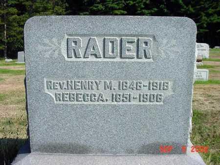RADER, REBECCA - Carroll County, Ohio | REBECCA RADER - Ohio Gravestone Photos