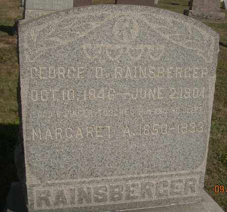 RAINSBERGER, MARGARET A - Carroll County, Ohio | MARGARET A RAINSBERGER - Ohio Gravestone Photos
