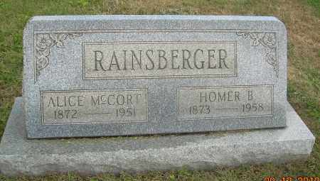 RAINSBERGER, HOMER B - Carroll County, Ohio | HOMER B RAINSBERGER - Ohio Gravestone Photos