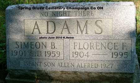 "ADAMS, SIMEON BAKER ""SIM"" - Champaign County, Ohio   SIMEON BAKER ""SIM"" ADAMS - Ohio Gravestone Photos"
