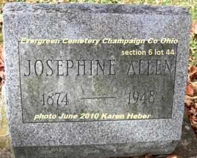 LEATHLEY ALLEN, JOSEPHINE - Champaign County, Ohio | JOSEPHINE LEATHLEY ALLEN - Ohio Gravestone Photos