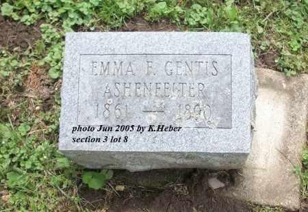 GENTIS ASHENFELTER, EMMA FRANCES - Champaign County, Ohio | EMMA FRANCES GENTIS ASHENFELTER - Ohio Gravestone Photos