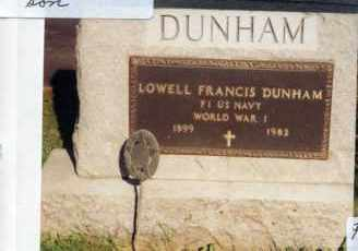 DUNHAM, LOWELL FRANCIS - Champaign County, Ohio | LOWELL FRANCIS DUNHAM - Ohio Gravestone Photos