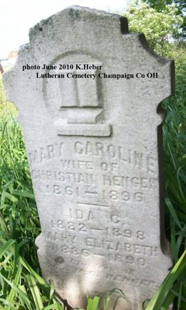 DAUBLEY HENGER, MARY CAROLINE - Champaign County, Ohio | MARY CAROLINE DAUBLEY HENGER - Ohio Gravestone Photos