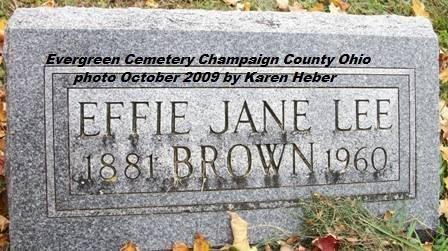 ADAMS LEE-BROWN, EFFIE JANE - Champaign County, Ohio | EFFIE JANE ADAMS LEE-BROWN - Ohio Gravestone Photos