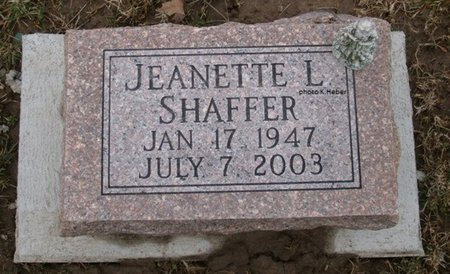 SHAFFER, JEANETTE LORAINE - Champaign County, Ohio | JEANETTE LORAINE SHAFFER - Ohio Gravestone Photos