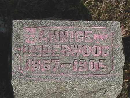 KIZER UNDERWOOD, ANNICE - Champaign County, Ohio   ANNICE KIZER UNDERWOOD - Ohio Gravestone Photos
