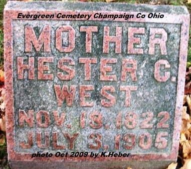 WEST, HESTER C - Champaign County, Ohio | HESTER C WEST - Ohio Gravestone Photos