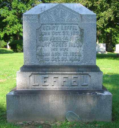 INLOW LEFFEL, MARY AGNES - Clark County, Ohio | MARY AGNES INLOW LEFFEL - Ohio Gravestone Photos