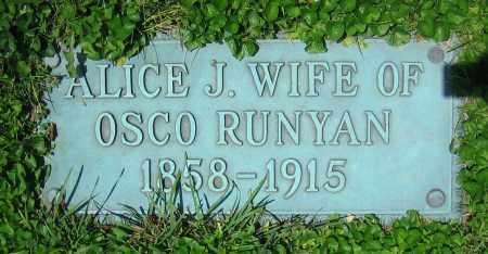 RUNYAN, ALICE J. - Clark County, Ohio | ALICE J. RUNYAN - Ohio Gravestone Photos