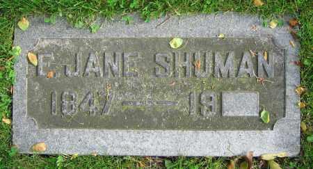 SHUMAN, E. JANE - Clark County, Ohio   E. JANE SHUMAN - Ohio Gravestone Photos