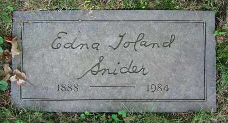TOLAND SNIDER, EDNA - Clark County, Ohio | EDNA TOLAND SNIDER - Ohio Gravestone Photos