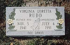 DAKIN RUDD, VIRGINIA LORETTA - Clermont County, Ohio | VIRGINIA LORETTA DAKIN RUDD - Ohio Gravestone Photos