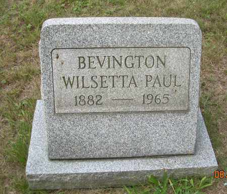 PAUL BEVINGTON, WILSETTA - Columbiana County, Ohio   WILSETTA PAUL BEVINGTON - Ohio Gravestone Photos