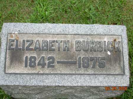 BURBICK, ELIZABETH - Columbiana County, Ohio   ELIZABETH BURBICK - Ohio Gravestone Photos