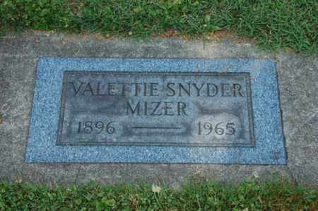 SNYDER MIZER, VALETTIE - Coshocton County, Ohio   VALETTIE SNYDER MIZER - Ohio Gravestone Photos