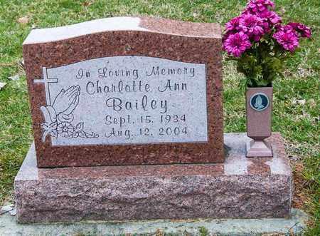 BAILEY, CHARLOTTE ANN - Crawford County, Ohio | CHARLOTTE ANN BAILEY - Ohio Gravestone Photos