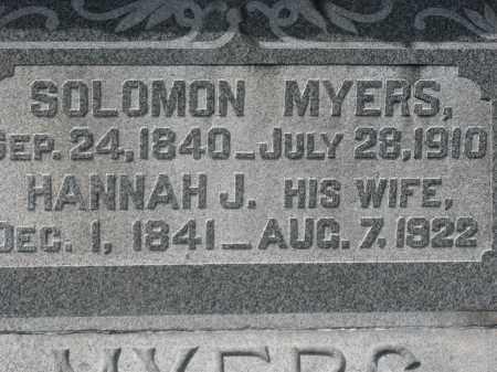MYERS CLOSEUP, HANNAH J - Crawford County, Ohio | HANNAH J MYERS CLOSEUP - Ohio Gravestone Photos