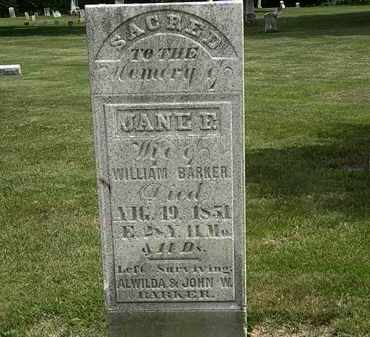 BARKER, JANE - Erie County, Ohio | JANE BARKER - Ohio Gravestone Photos