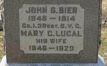 BIER, JOHN G. - Erie County, Ohio | JOHN G. BIER - Ohio Gravestone Photos