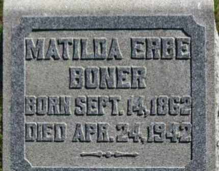 BONER, MATILDA - Erie County, Ohio | MATILDA BONER - Ohio Gravestone Photos