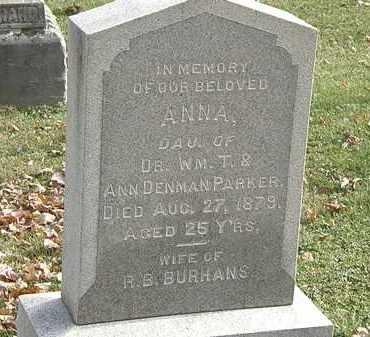 BURHANS, ANNA - Erie County, Ohio   ANNA BURHANS - Ohio Gravestone Photos