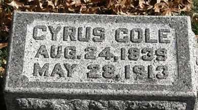 COLE, CYRUS - Erie County, Ohio   CYRUS COLE - Ohio Gravestone Photos