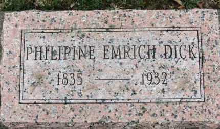 EMRICH DICK, PHILIPINE - Erie County, Ohio | PHILIPINE EMRICH DICK - Ohio Gravestone Photos