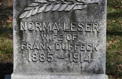 LESER DUFFECK, NORMA - Erie County, Ohio | NORMA LESER DUFFECK - Ohio Gravestone Photos