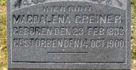 GREINER, MAGDALENA - Erie County, Ohio   MAGDALENA GREINER - Ohio Gravestone Photos