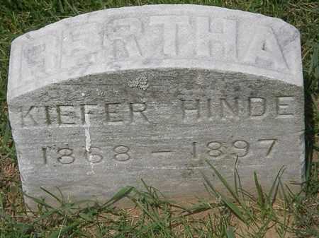 KIEFER HINDE, BERTHA - Erie County, Ohio | BERTHA KIEFER HINDE - Ohio Gravestone Photos