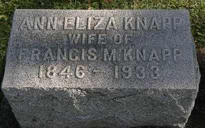 KNAPP, ANN ELIZA - Erie County, Ohio | ANN ELIZA KNAPP - Ohio Gravestone Photos