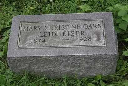 OAKS LEIDHEISER, MARY CHRISTINE - Erie County, Ohio   MARY CHRISTINE OAKS LEIDHEISER - Ohio Gravestone Photos