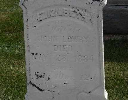 LOWRY, ELIZABETH - Erie County, Ohio | ELIZABETH LOWRY - Ohio Gravestone Photos