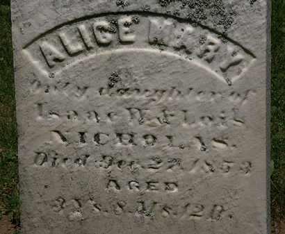 NICHOLAS, ALICE MARY - Erie County, Ohio | ALICE MARY NICHOLAS - Ohio Gravestone Photos