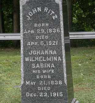 SABINA RITZ, JOHANNA WILHELMINA - Erie County, Ohio | JOHANNA WILHELMINA SABINA RITZ - Ohio Gravestone Photos