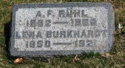 RUHL, A.F. - Erie County, Ohio   A.F. RUHL - Ohio Gravestone Photos