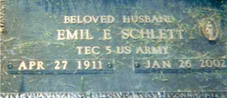 SCHLETT, EMIL E - Erie County, Ohio | EMIL E SCHLETT - Ohio Gravestone Photos