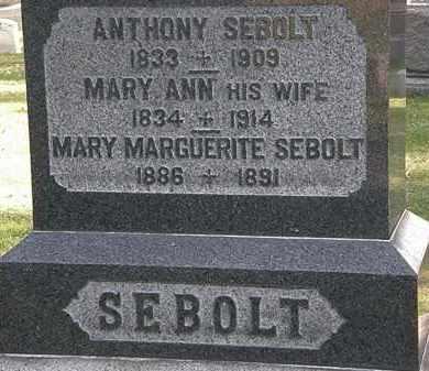 SEBOLT, MARY ANN - Erie County, Ohio | MARY ANN SEBOLT - Ohio Gravestone Photos