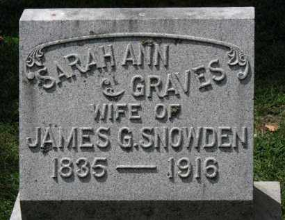 SNOWDEN, SARAH ANN - Erie County, Ohio | SARAH ANN SNOWDEN - Ohio Gravestone Photos