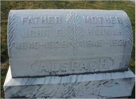 ALSPACH, HANNAH - Fairfield County, Ohio | HANNAH ALSPACH - Ohio Gravestone Photos