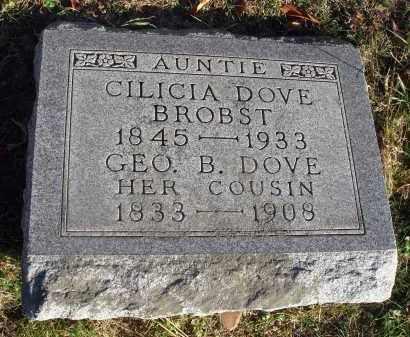 DOVE BROBST, CILICIA - Fairfield County, Ohio | CILICIA DOVE BROBST - Ohio Gravestone Photos
